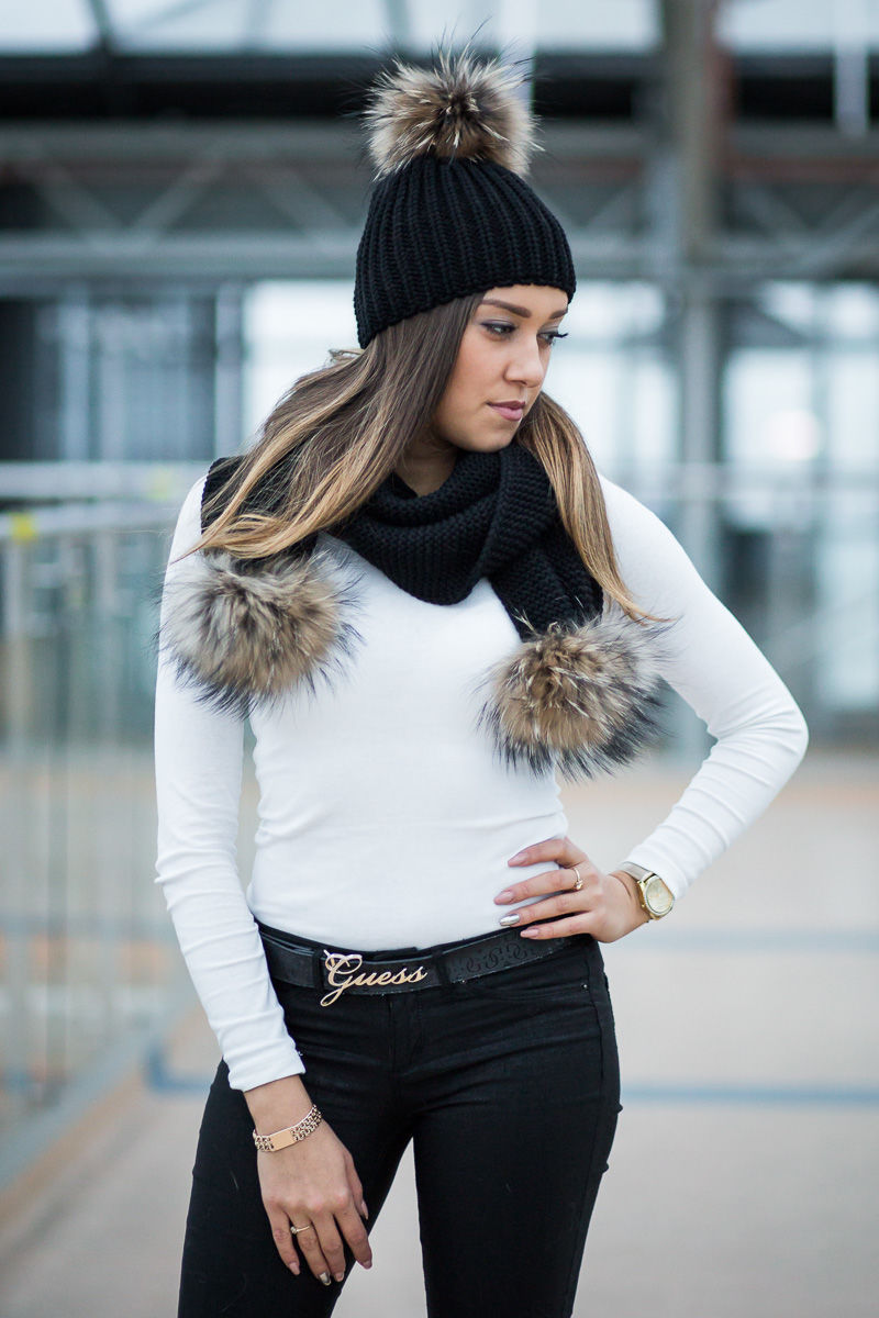 Beanie Winter Hat And Scarf With Real Fur Pom Poms Women
