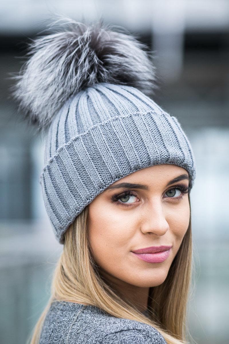 Ladies Ribbed Winter Alpaca Hat With Genuine Raccoon