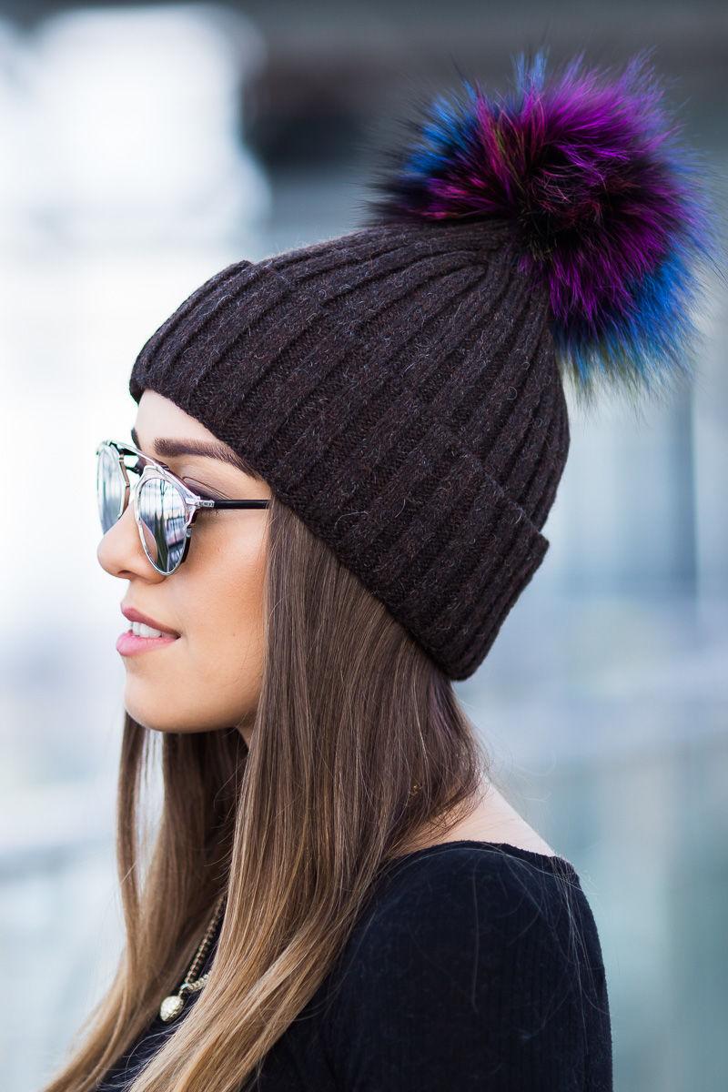 Woollen Ribbed Cap With Genuine Fox Fur Pom Pom In Light