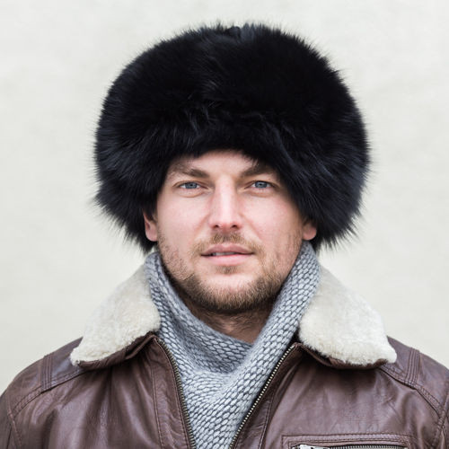 Genuine Fox Fur Trapper Hat In Black Men Fur Hats