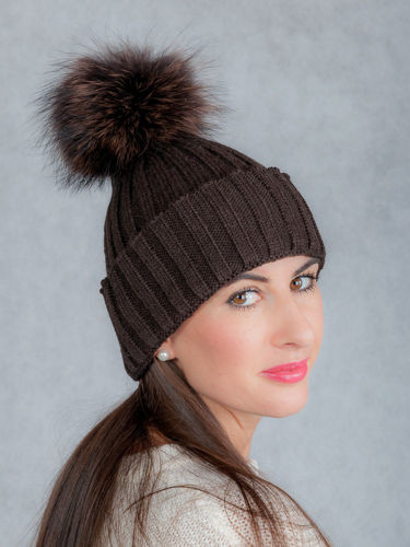 Ladies Fur pompom Ribbed Beanie Hat in brown  ff2d78649c5