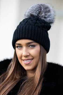 Beanie winter hat and scarf with real fur pom poms