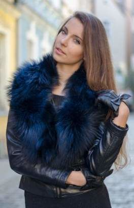 Black and Silver Fox Fur Large Detachable Collar
