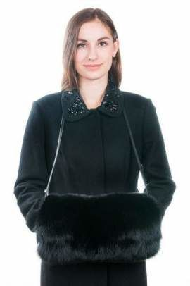 Genuine Fox Fur Muff in Black