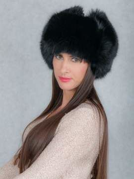 Genuine Fur Trapper Hat in Black