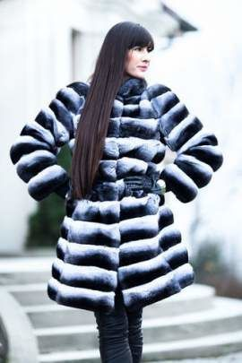 Genuine chinchilla fur coat