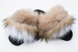 Ladies Fur Slides in beige and white, Sandals with Genuine Fox Fur