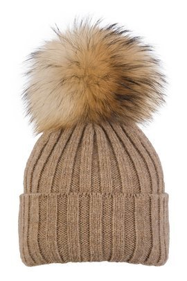 Ladies Ribbed Winter Alpaca Hat with Genuine Raccoon pompom