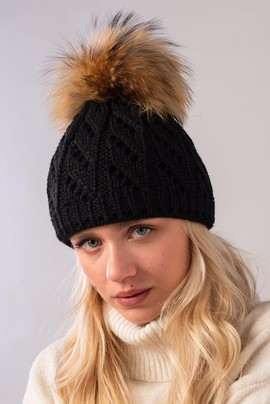 Ladies Winter Beanie Hat with Genuine Raccoon Dog pompom