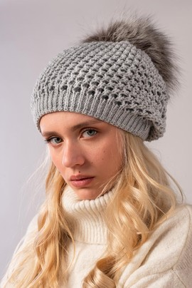 Ladies Winter Fur pompom Beanie Hat in grey
