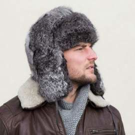 Man's Genuine Rabbit Fur Trapper Hat
