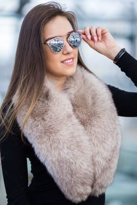 Silver Fox Fur Large Detachable Collar