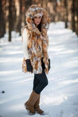 Woman's Genuine Red Fox Fur Waistcoat with Hood