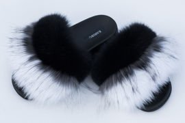 Women's Black and White Fur Slides, Sandals with Genuine Fox Fur