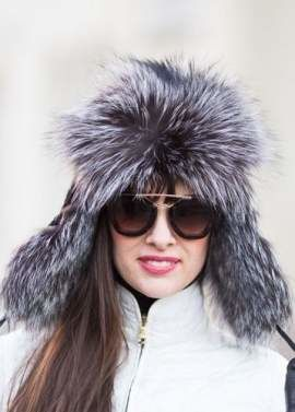 Womens Silver Fox Fur Trapper Hat in Silver/Black