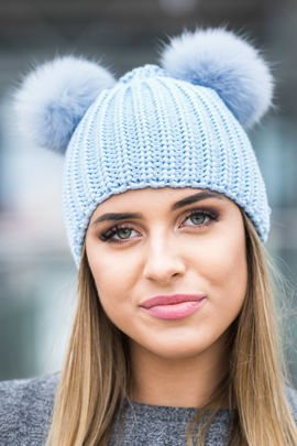 Woollen Cap with Genuine Fox Fur Pom-Poms - light blue