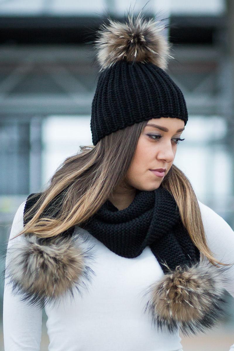 fcd78168036 Beanie winter hat and scarf with real fur pom poms ...