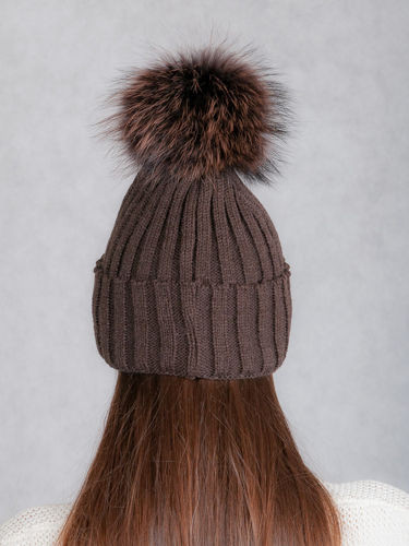 dd2912f9 Ladies Fur pompom Ribbed Beanie Hat in brown   WOMEN \ WOOL HATS ...