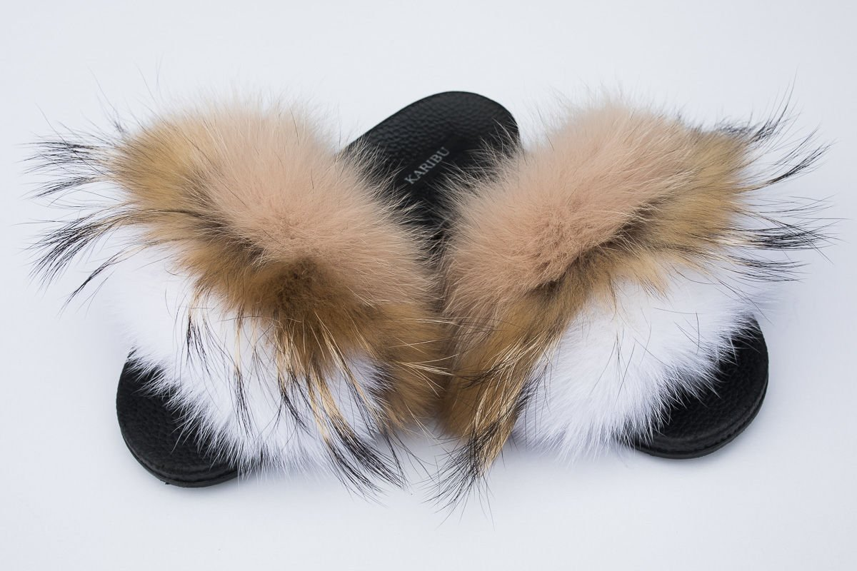 a3f08c37ca959 Women's Beige Fur Slides, Sandals with Beige Fox Fur | FUR SLIDES ...