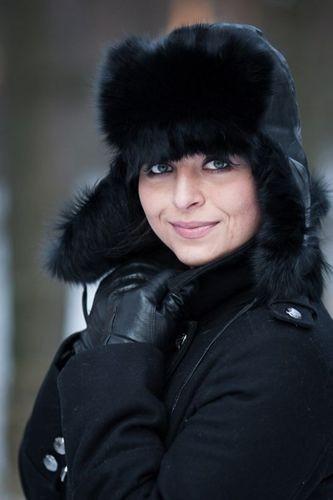 ... Womens Fox Fur Trapper Hat in Black ... c7f3b12d33a