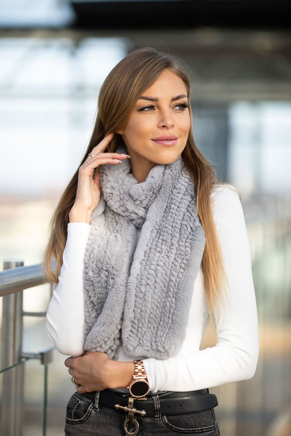 Grey wide Rex Rabbit Fur Scarf
