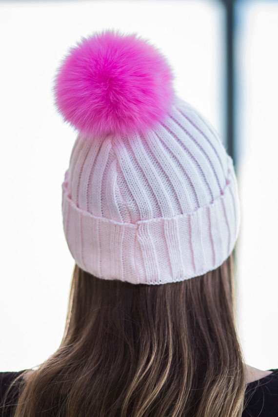 WOOL BEANIE HAT WITH GENUINE FOX FUR POM POM