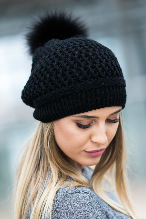 BERET HAT WITH FUR POM POM
