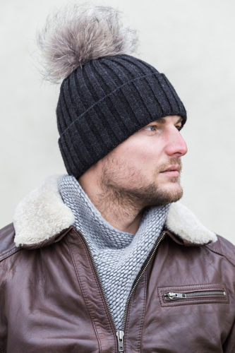 BLACK ALPACA WOOL HAT WITH GENUINE RACCOON FUR POM POM