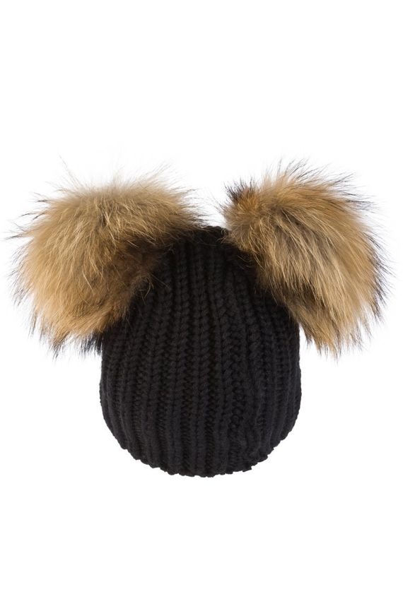 BLACK WOOL HAT WITH TWO GENUINE RACCOON FUR POMPOMS