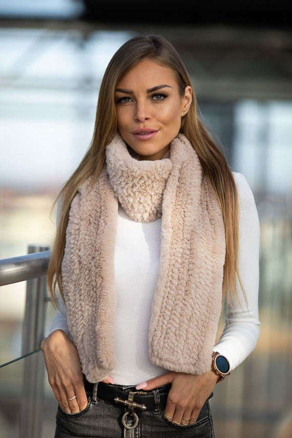 Beige wide Rex Rabbit Fur Scarf