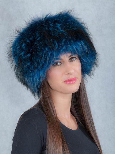 Blue Fox Fur Roller Hat with Mink top