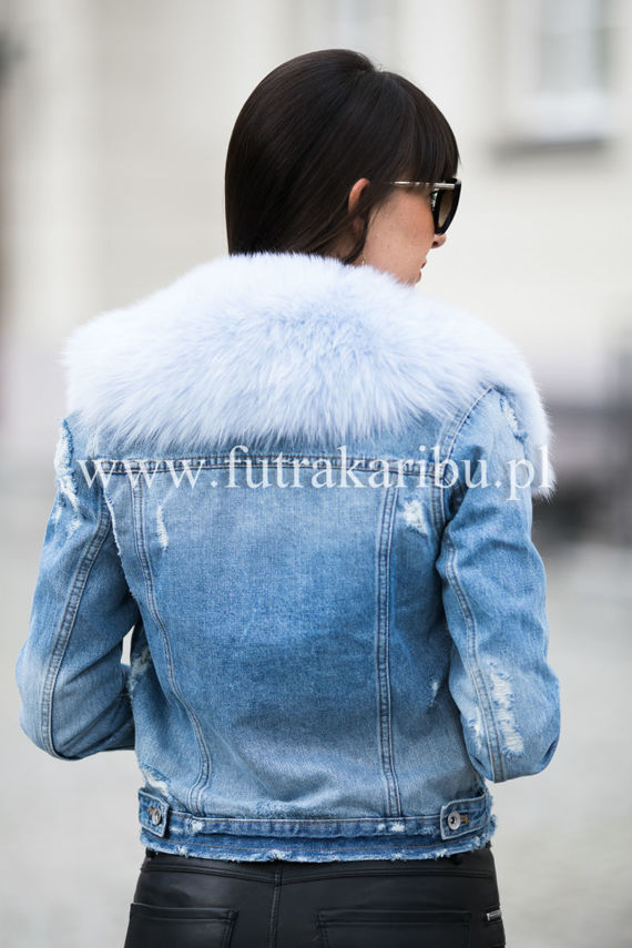 Detachable Fox Fur Collar dyed in Blue