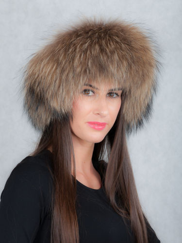 Genuine Finland Racoon Fur Headband in Natural Brown