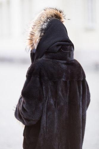 Genuine Fox Fur Toque Dyed Black