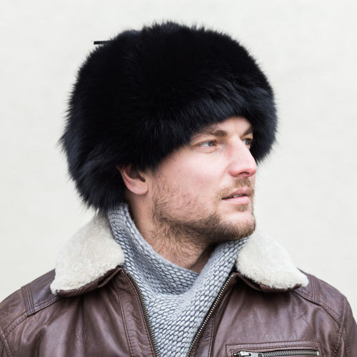 Genuine Fox Fur Trapper Hat in Black