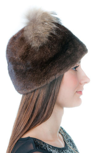 Genuine Mink Fur Hat - Brown