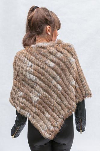 Genuine Rabbit Fur Poncho