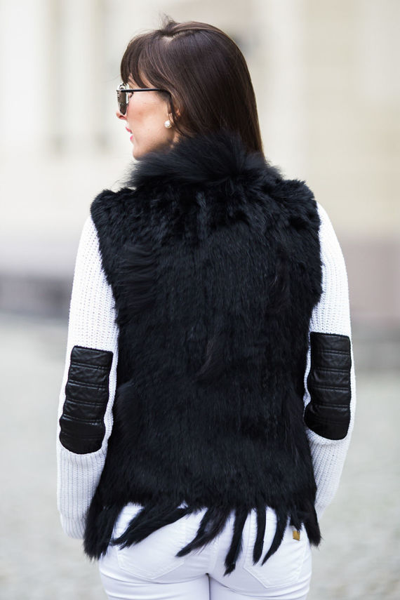 Genuine Rabbit Fur Waistcoat in Black