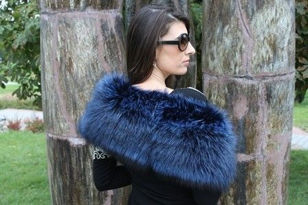Genuine Raccoon Dog Fur Stole in Lime-Green