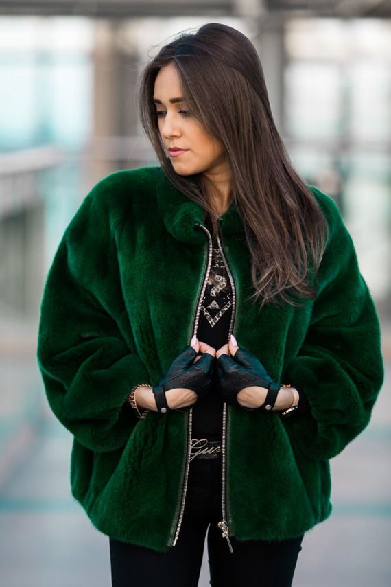 Genuine fox fur jacket in brown