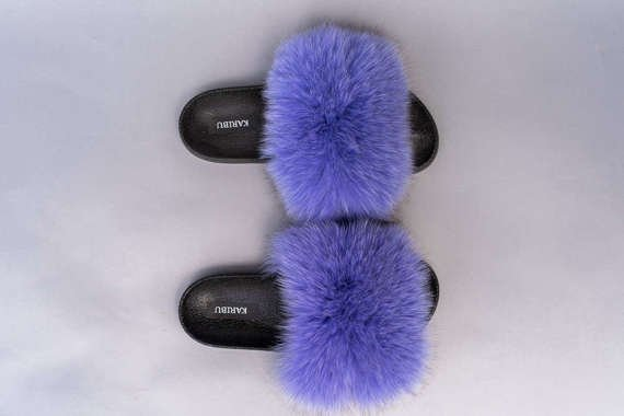 Ladies Fox Fur Slides in Purple, Fashion Sandals