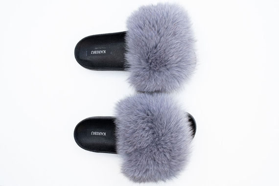Ladies Fur Slides Summer Sandals With Genuine Fur