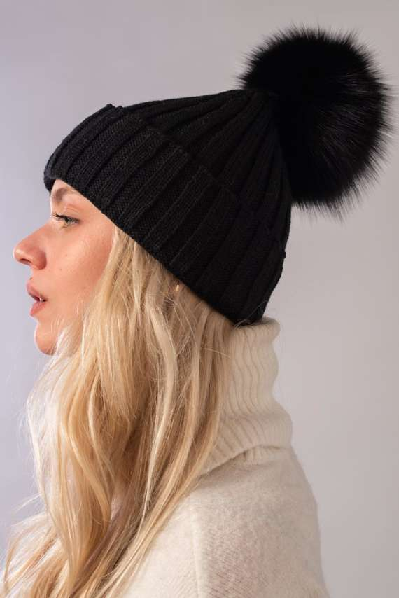 Ladies Fur pompom Ribbed Beanie Hat in black