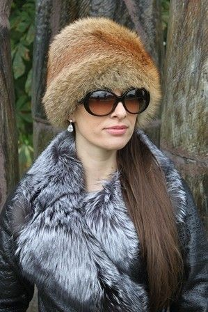 Ladies Genuine Red Fox Fur Round Hat