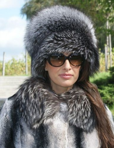 Ladies Genuine Silver Fox Fur Round Hat