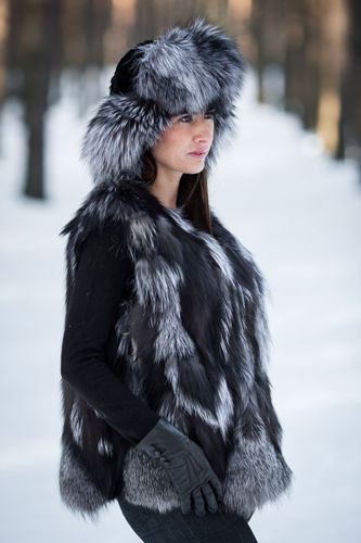 Ladies Genuine Silver Fox Fur Vest