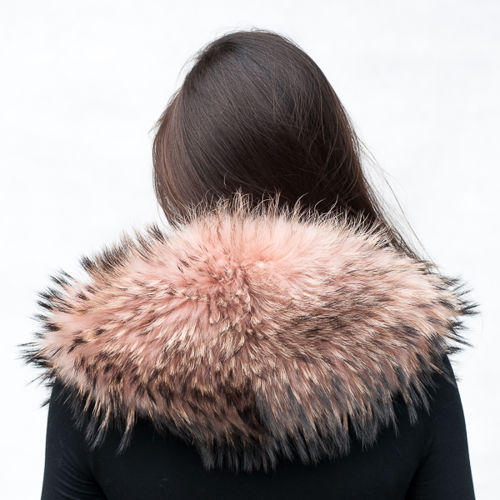 Large Detachable Finn Raccoon Fur Collar in Light Pink