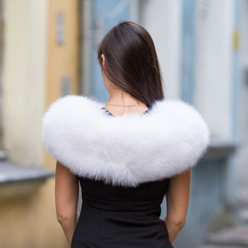 Large Detachable  Fox Fur Collar dyed in White.