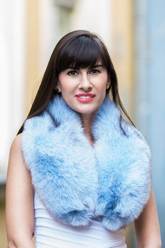 Large Detachable Silver Fox Fur Collar dyed in Baby Blue.