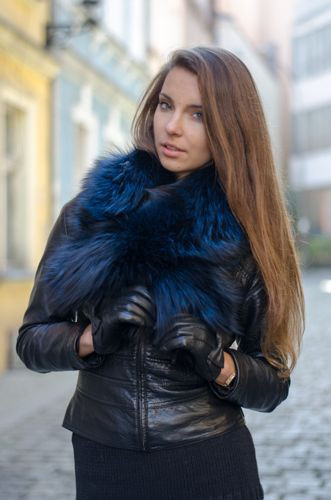 Large Detachable Silver Fox Fur Collar dyed in navy blue.